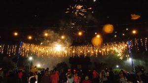 Suasana perayaan tahun baru di Lapangan Puputan Badung