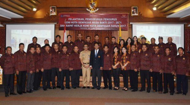 Pengurus KONI Kota Denpasar Periode 2017-2021 Dilantik – Wawali Jaya Negara : Kerja Profesional Untuk Kemajuan Olahraga Denpasar