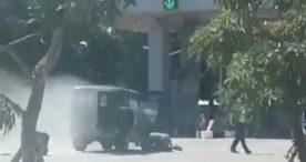 Jeep Kuno Terbakar di Bandara Ngurah Rai